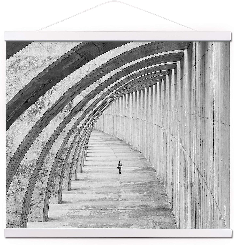 """Mookgro 27"""" White Poster Frame 27x40,Light Wood Magnetic Frames Wooden Poster Hanger Hanging Kit for Art Print or Canvas Artwork (68.58cm)"""