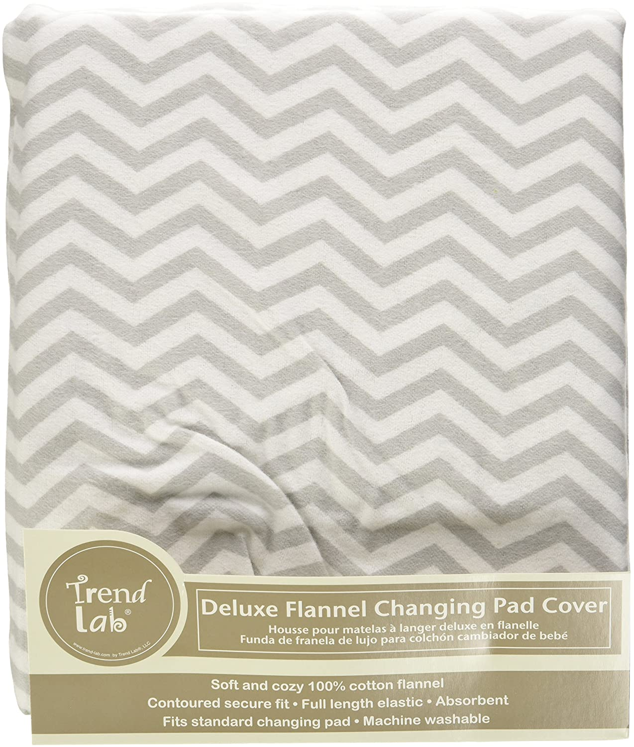 Amazon.com: Trend Lab Gray Chevron Deluxe Flannel Changing Pad Cover: Baby