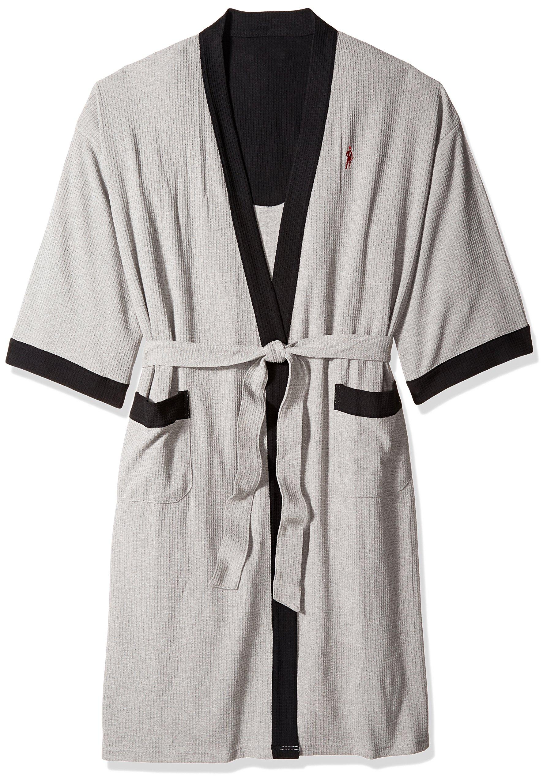 Jockey Men's Tall Size Waffle-Weave Kimono Robe, Grey Heather/Blue, 2/3XT