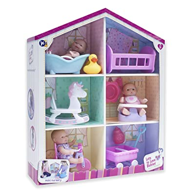 "JC Toys Lots to Love Babies - With 3 5"" Vinyl Dolls, 6 Accessories, & Reusable Box Playhouse Gift Set: Toys & Games"