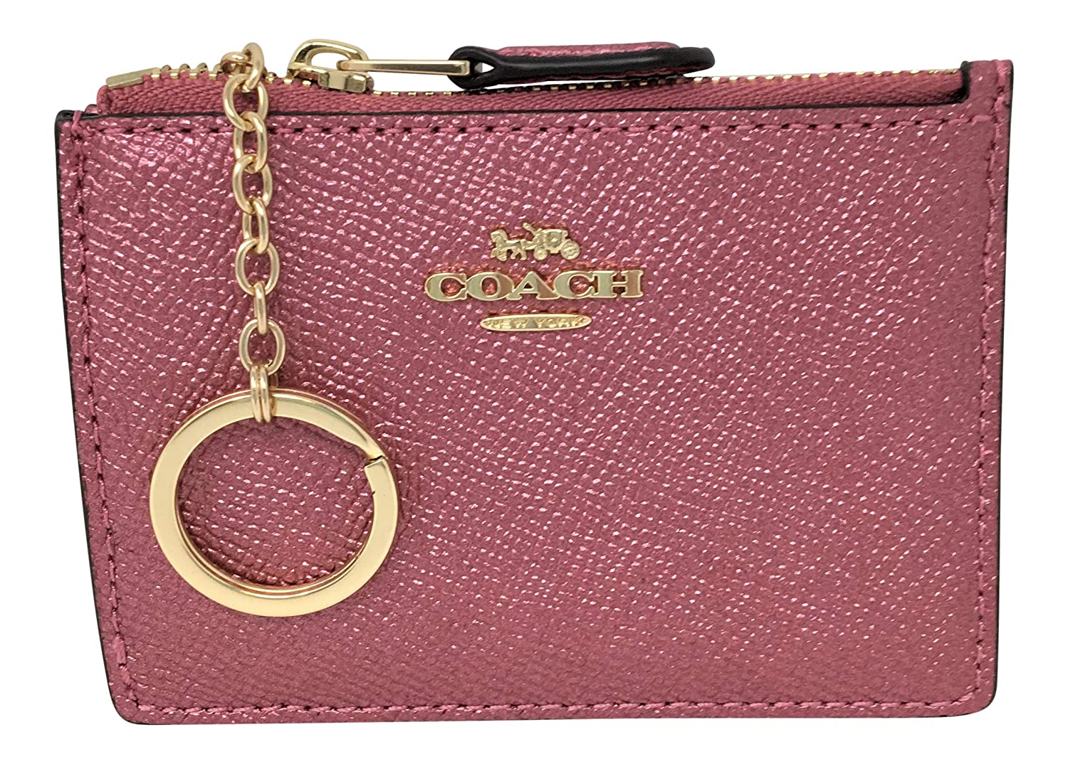 Amazon.com: Coach F21072 Crossgrain Metallic Mini Skinny ID ...