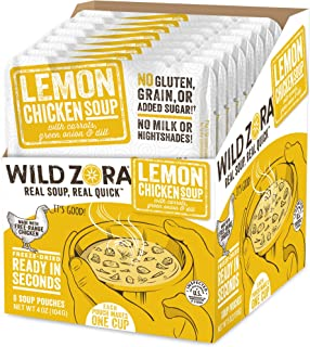 product image for Wild Zora Instant Keto Soups - Lemon Chicken - Healthy Broth with Free Range Chicken and Vegetables - Gluten Free, AIP Friendly, No Milk Or Nightshades, Low Carb - Individual Packets (8-Pack)