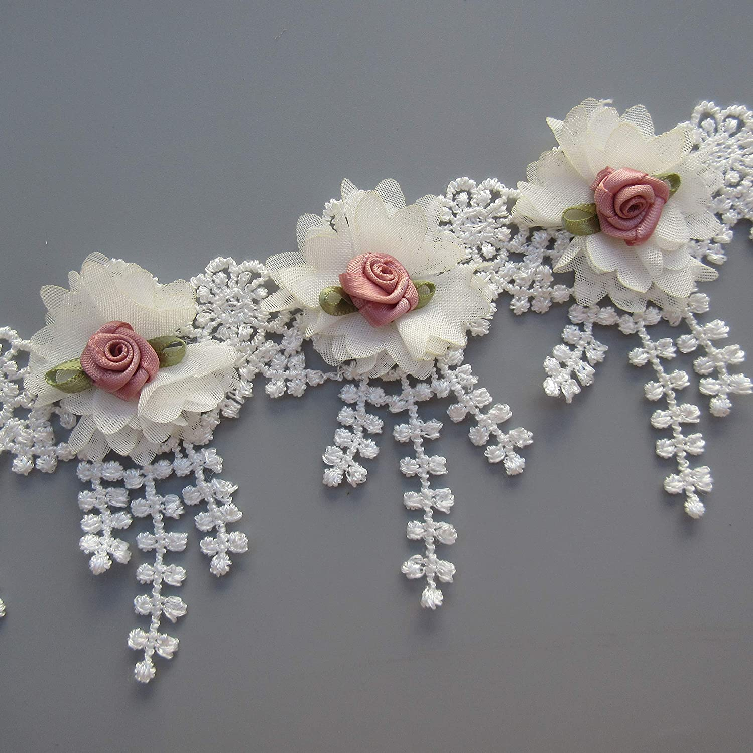 Pink 30pcs Flower Lace Ribbon Tassel Edge Trim with Pearl Beads 3D Floral 3-1//3 inches Wide Vintage White Pink Edging Trimmings Guipure Fabric Embroidered for Sewing Crafts Clothes Dresses Applique