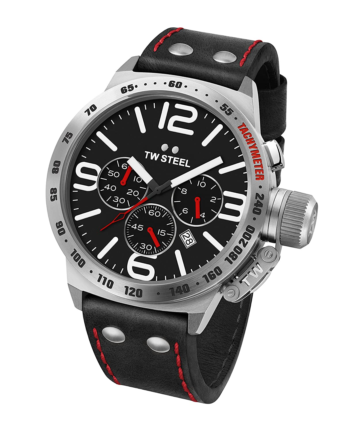 TW Steel Men s CS10 Stainless Steel Watch With Black Leather Band