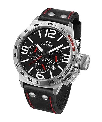 3259571539c1 TW Steel Reloj Cronógrafo para Unisex de Cuarzo con Correa en Cuero CS10   Amazon.es  Relojes