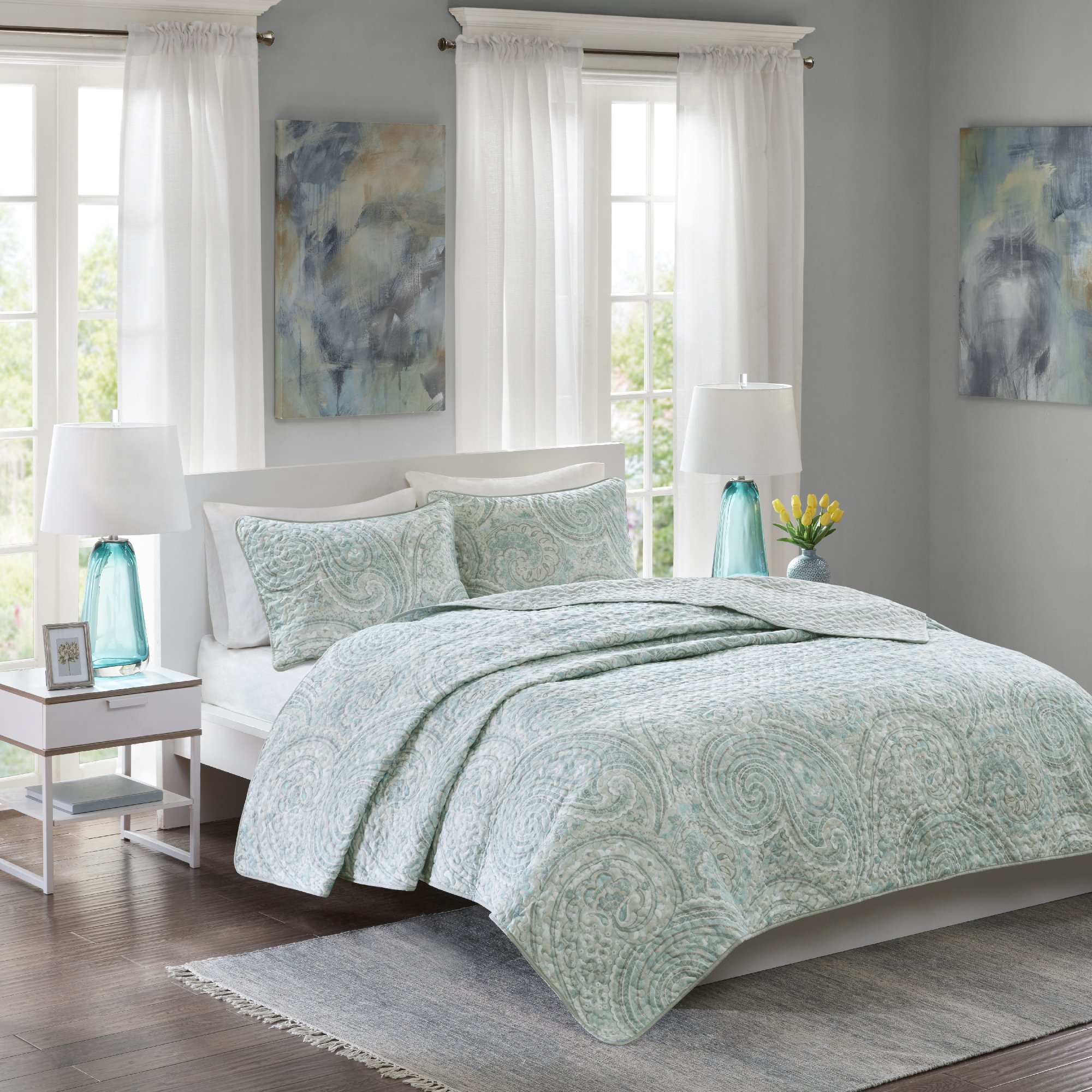 Comfort Spaces - Kashmir Mini Quilt Set - 3 Piece - Paisley Pattern - Blue, Grey, King/California King Size, includes 1 Quilt, 2 Shams