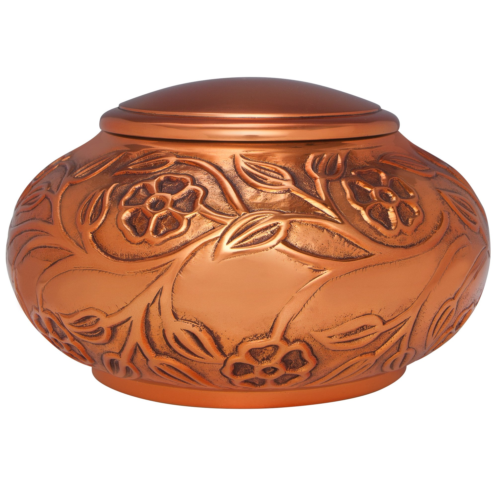 Copper Funeral Urn by Liliane Memorials - Cremation Urn for Human Ashes - Hand Made in Brass - Suitable for Cemetery Burial or Niche - Large Size fits remains of Adults up to 70 lbs