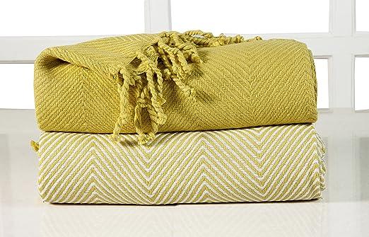 EHC – Manta para sofá, algodón, Rayas Chevron, 2 Unidades, 125 ...