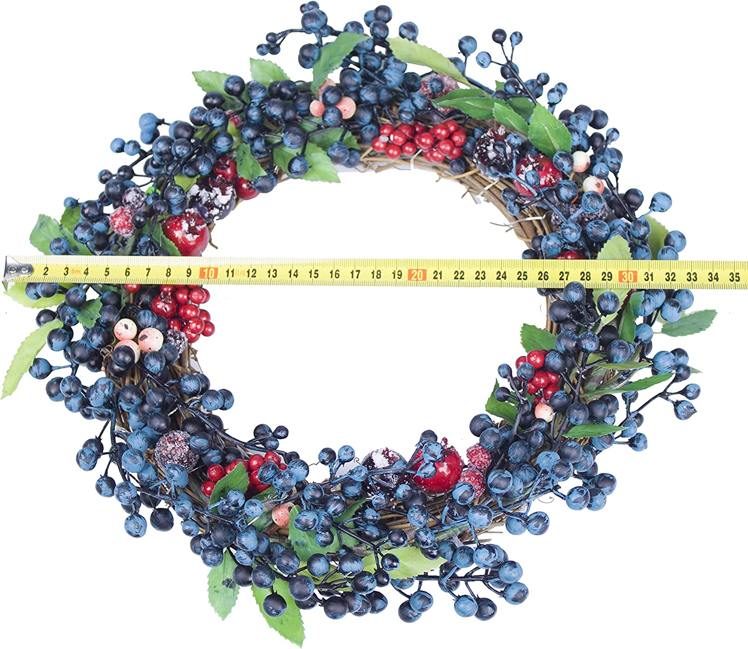 Mantelpiece,Window Decoration Blue Berries Red Berries and Cherries for Front Door,Wall LTWHOME WWBB 13 Inch Artificial Berry Wreath with LED Lights