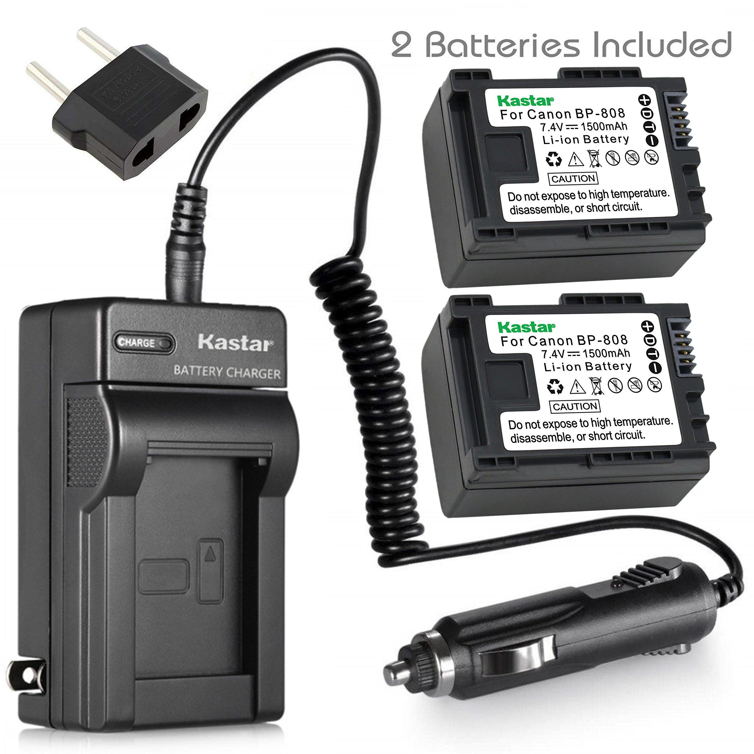 Kastar BP808 Battery (2-Pack) and Charger Kit for Canon BP-807, BP-808, BP-809 and Canon HFM400 HF100 M300 S100 S200 FS36 FS37 HF200 HFS11 HF100 HF20 HG21 FS406 Cameras