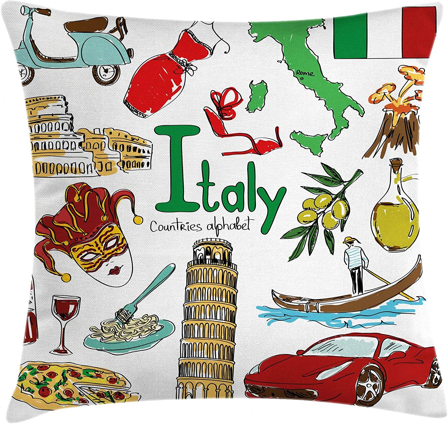 Ambesonne Italy Throw Pillow Cushion Cover, Fun Colorful Sketch Artwork Italy Countries Alphabet Landmarks Food Culture, Decorative Square Accent Pillow Case, 18