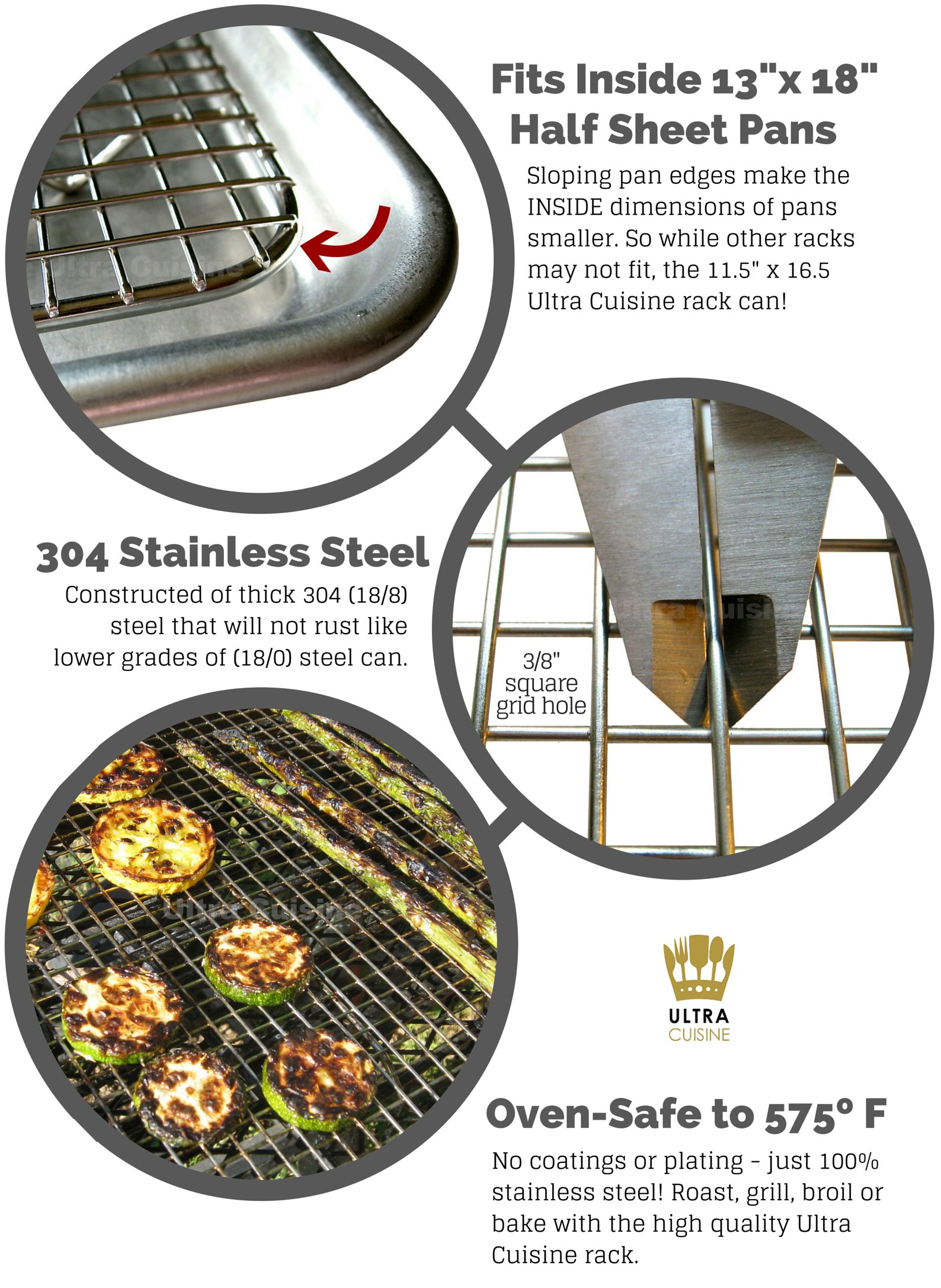 Ultra Cuisine 100% Stainless Steel Wire Cooling Rack for Baking fits Half Sheet Pans  Cool Cookies, Cakes, Breads - Oven Safe for Cooking, Roasting, Grilling - Heavy Duty Commercial Quality by Ultra Cuisine (Image #2)