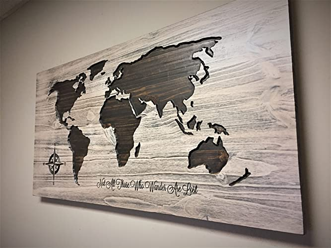 Large World Map Art, Wood Wall Art, Wooden Map, World Map With Quote