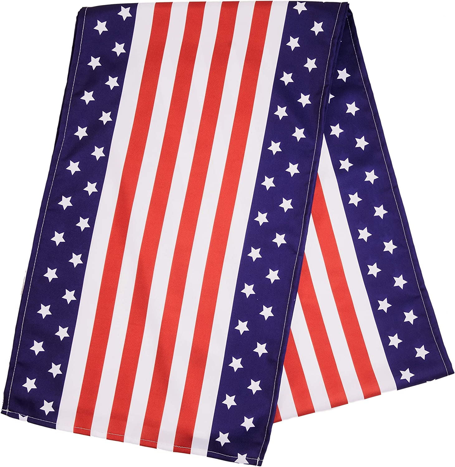 American Flag Table Runner - Patriotic 4th of July Table Coverings, Party Decor with Stars and Stripes - Durable 108 x 16 Inches