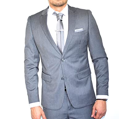 312681d9bc23 IRMAO Costume Homme Gris cintré 2 Boutons  Amazon.fr  Vêtements et  accessoires