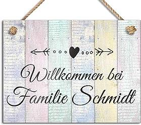 bedruckt mit Ihrem Wunschtext UV-Druck//mit Kordel 20x12 cm bedruckte Namensschilder Klingelschilder mit Namen Herzlich Willkommen Sch/öne T/ürschilder f/ür die Haust/ür