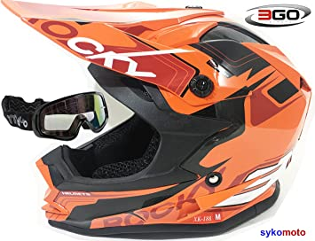 3GO XK188 ROCKY CASCO DE MOTO PARA NIÑOS Y NIÑAS MTB ATV DIRT ENDURO NARANJA CON