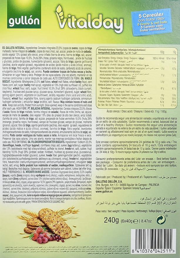 Gullón Vitalday Frutos Rojos Galleta Desayuno y Merienda - Paquete de 6 x 40 gr - Total: 240 gr