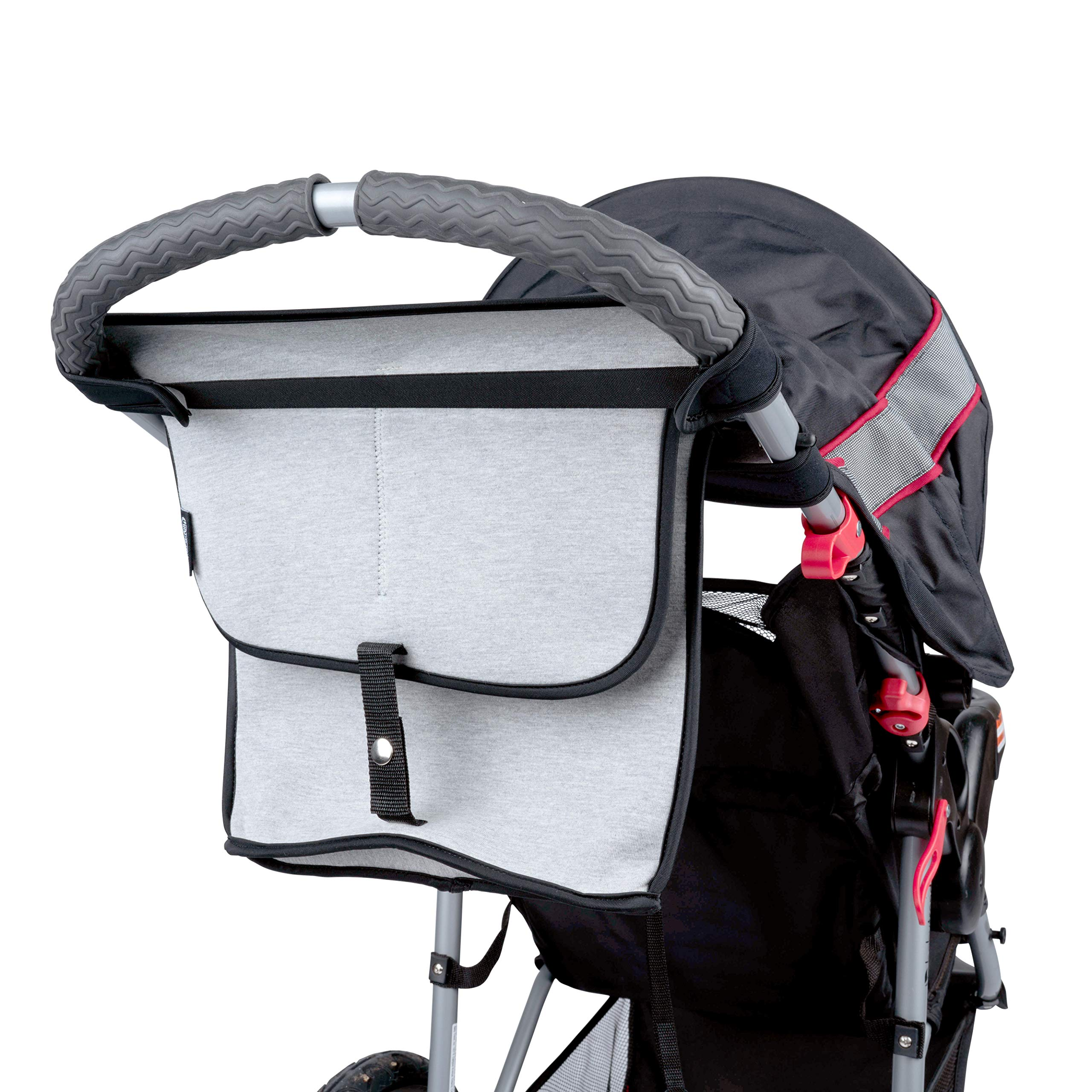 Stroller Organizer Deluxe by Modfamily -XL Neoprene Bag with Zipper Storage Space for Diapers, Wipes, Wallets, Personal Items, and a Cup Holder for Moms & Dads - Fits Umbrella and Single - Pack and Go