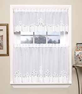 Today's Curtain Plymouth Classic Battenburg Applique Sheer Valance, 14-Inch, White