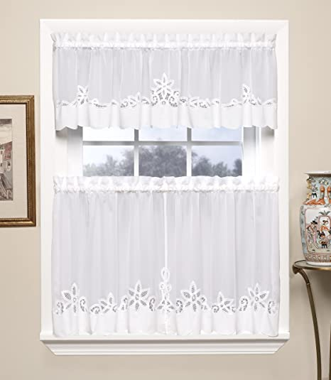 Amazon Com Today S Curtain Plymouth Classic Battenburg Applique Sheer Window Tier 24 Inch White Home Kitchen