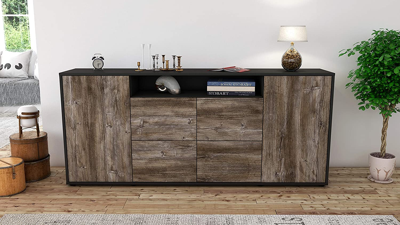 Stil.Zeit Sideboard Ephenia//Korpus anthrazit matt//Front Holz-Design Eiche 180x79x35cm Push-to-Open Technik