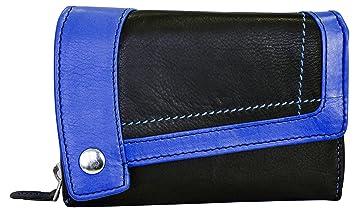 025fb074e5d2e7 Blau Schwarze Damen Lederbörse 25 Fächer Leder Frauen Geldbörse Echtleder  Geldtasche Geldbeutel BB14 Reißverschluss (Dunkelblau