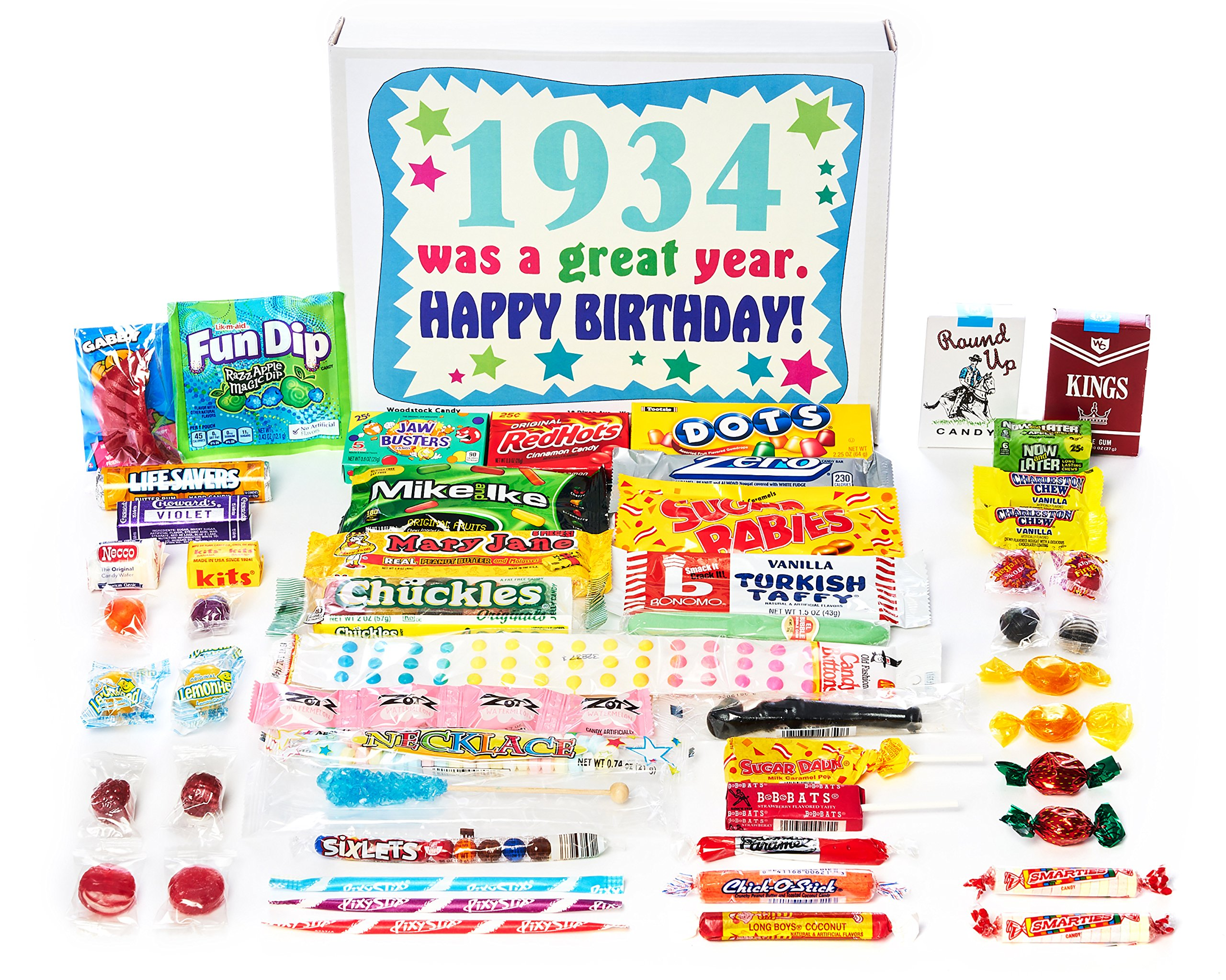 Woodstock Candy ~ 1934 85th Birthday Gift Box of Nostalgic Retro Candy Mix from Childhood for 85 Year Old Man or Woman Born 1934