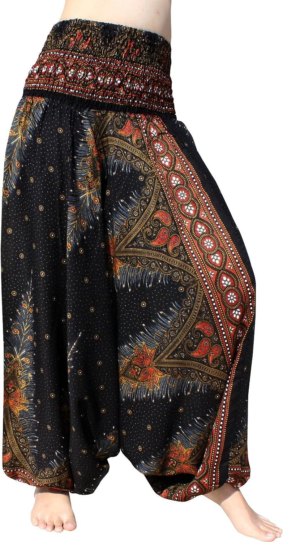 RaanPahMuang Light Rayon Smock Top Fabric Print Harem Aladdin Pants