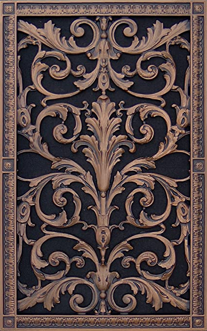 """Decorative Vent Cover, Grille, made of Urethane Resin in Louis XIV, French  style fits over a 24""""x 14"""", Total size, 26"""" by 16"""", for wall &"""