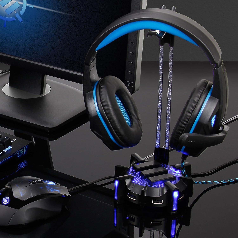 ENHANCE Support Casque Gaming avec Hub USB /à 4 Ports Id/éal pour PC Bureau Base L/ég/ère Eclairage LED de 7 Couleurs R/églables Manche en Acrylique Flexible Repose Casque Audio Universel pour Gamers
