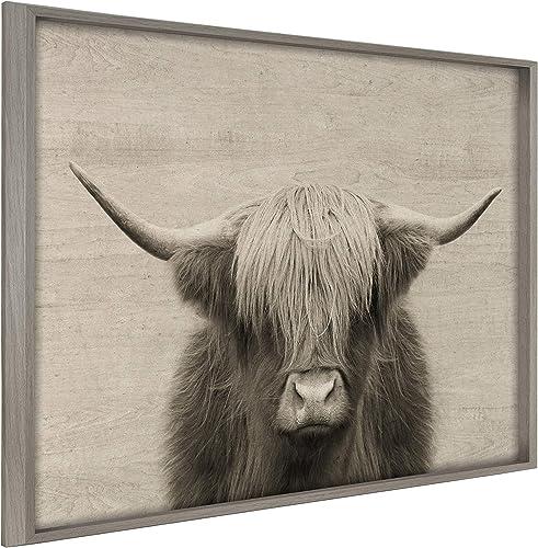 Kate and Laurel Blake Hey Dude Highland Cow Framed Printed Wood Wall Art