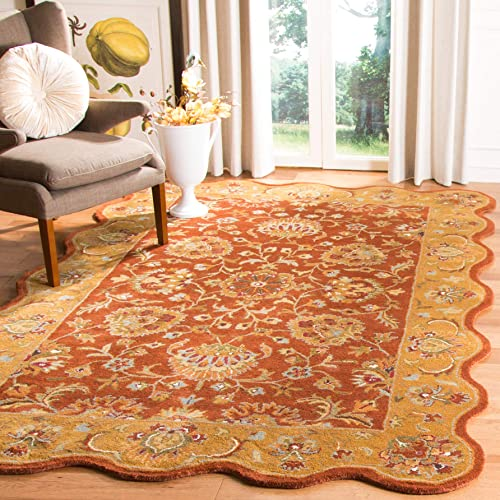 Safavieh Heritage Collection HG820A Handcrafted Traditional Oriental Red and Natural Wool Scallop Area Rug 2 3 x 4