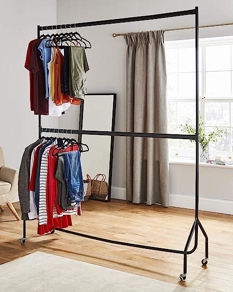 Resistente de dos niveles perchero ropa soporte para colgar en negro – sin herramientas necesario – Metal (maestra de largo x 7 m de altura)