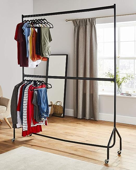 Resistente de dos niveles perchero ropa perchero para colgar en negro – construcción de metal (4 ft largo x 7 m de altura)