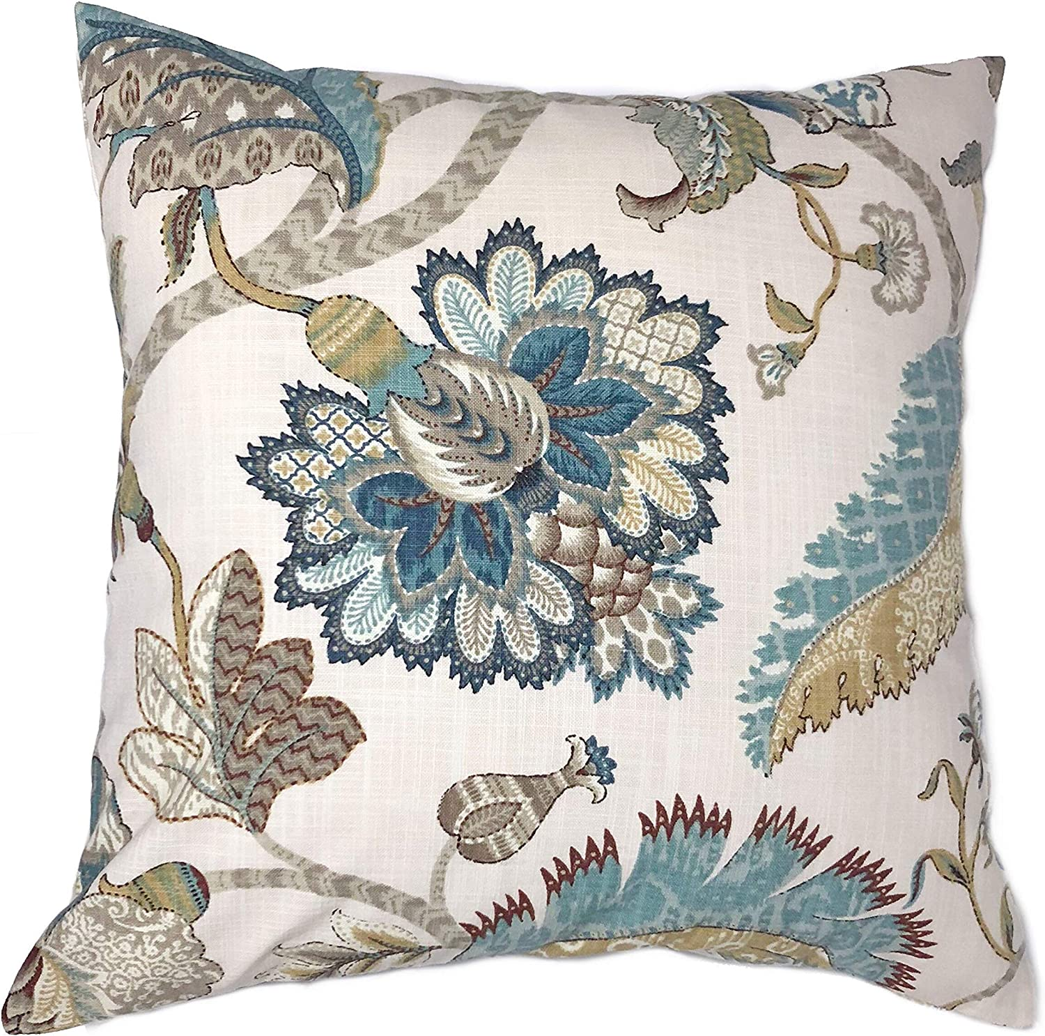 Flowershave357 French Blue Floral Pillow Cover Teal Brown Taupe Golden Tan Ivory Euro Sham Lumbar Home Decor Accent Pillow Case