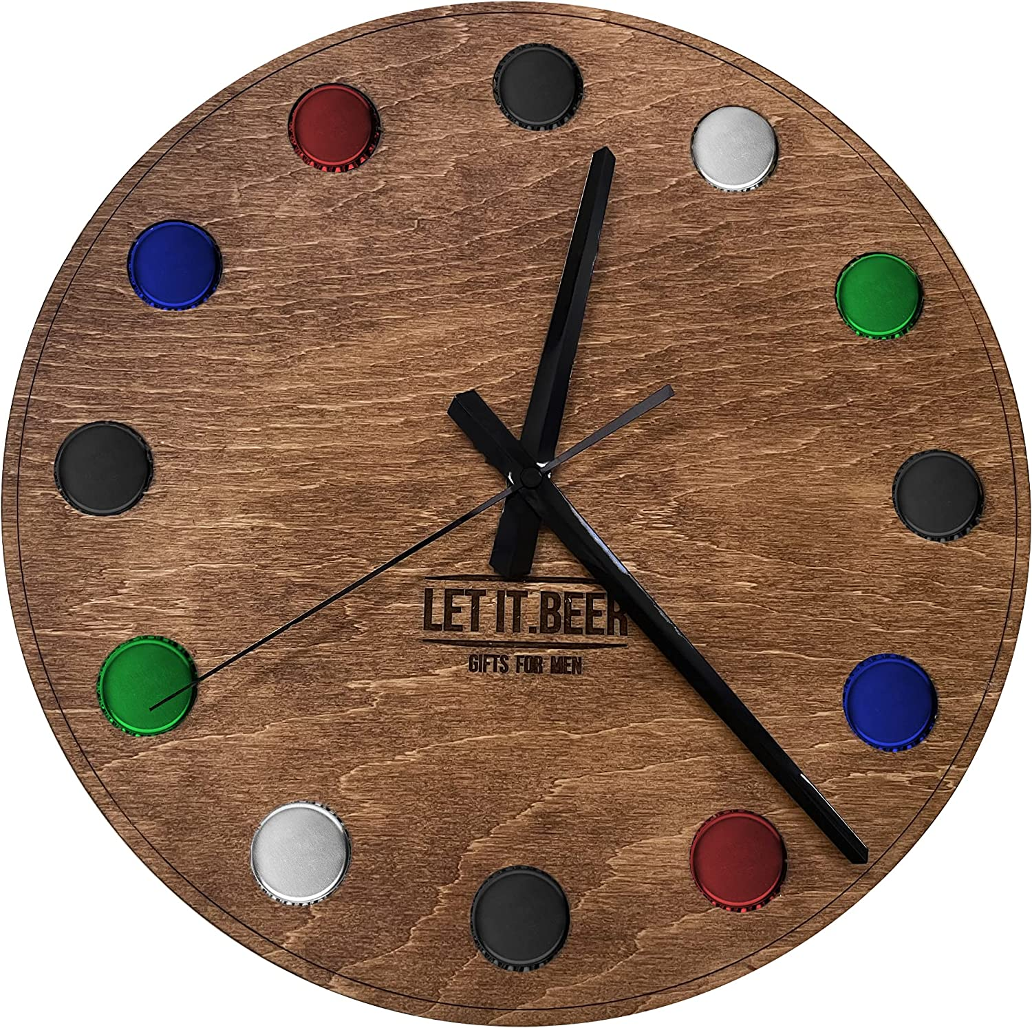 Wall Clock Gifts for Men - Beer Non-Ticking Silent Wood Room Decor - Rustic Round Clock for Home Decor Kitchen Decor DIY