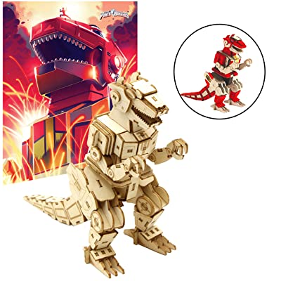 """Mighty Morphin Power Rangers T-Rex Dinozord Poster and 3D Wood Model Figure Kit - Build, Paint and Collect Your Own Wooden Toy Model - Red Ranger - Great for Kids and Adults,12+ - 5"""" h: Toys & Games"""