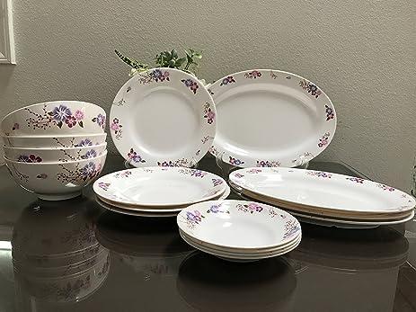 MrTableware 16-Piece Melamine Dinnerware Set Flower V212 & Amazon.com | MrTableware 16-Piece Melamine Dinnerware Set Flower ...