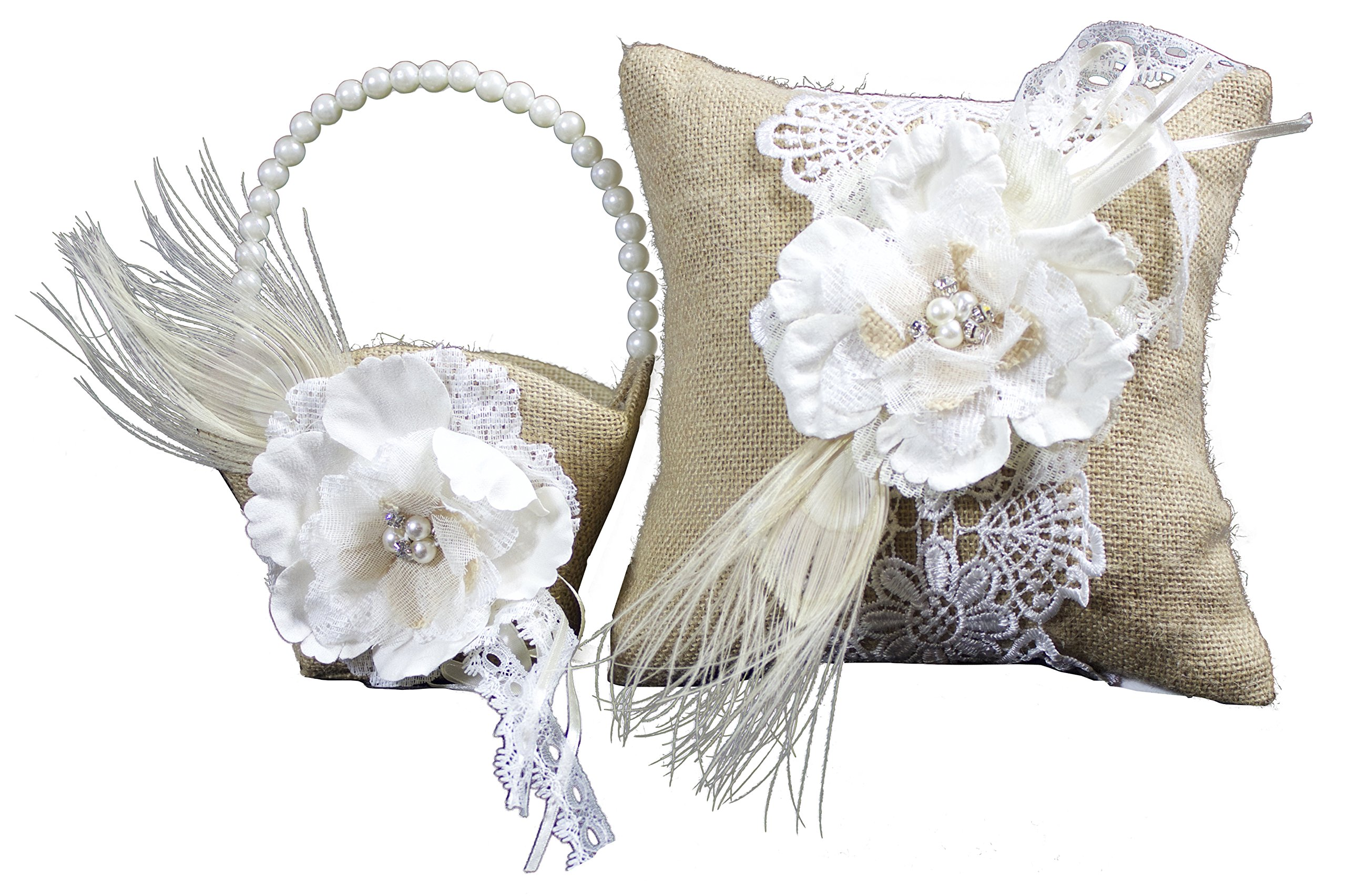 Bundle of Lillian Rose Ring Bearer Pillow and Flower Girl Basket (Burlap) by Lillian Rose