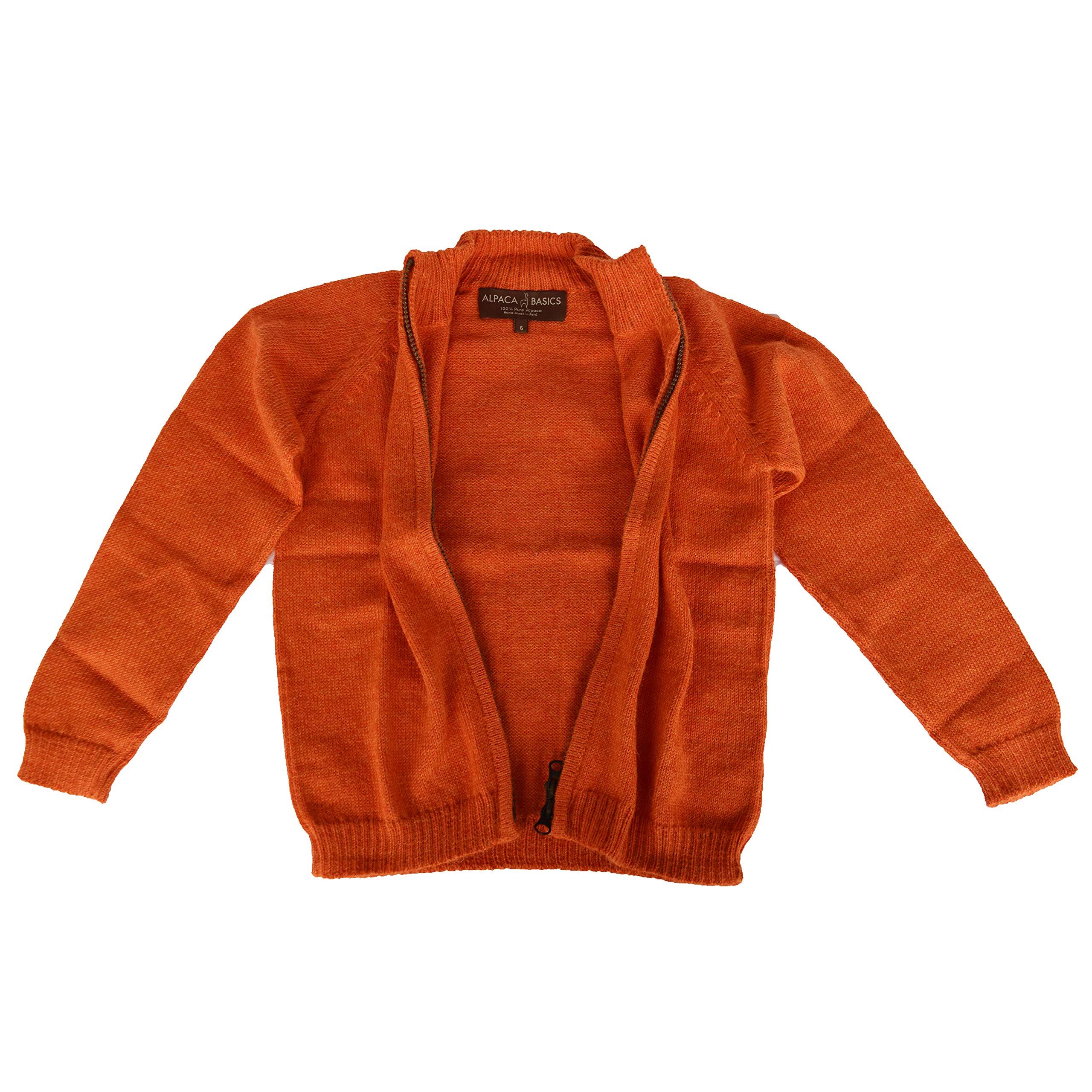 Alpaca Basics Boys Handmade 100% Alpaca Wool Full Zip Sweater (Tangerine, 12)
