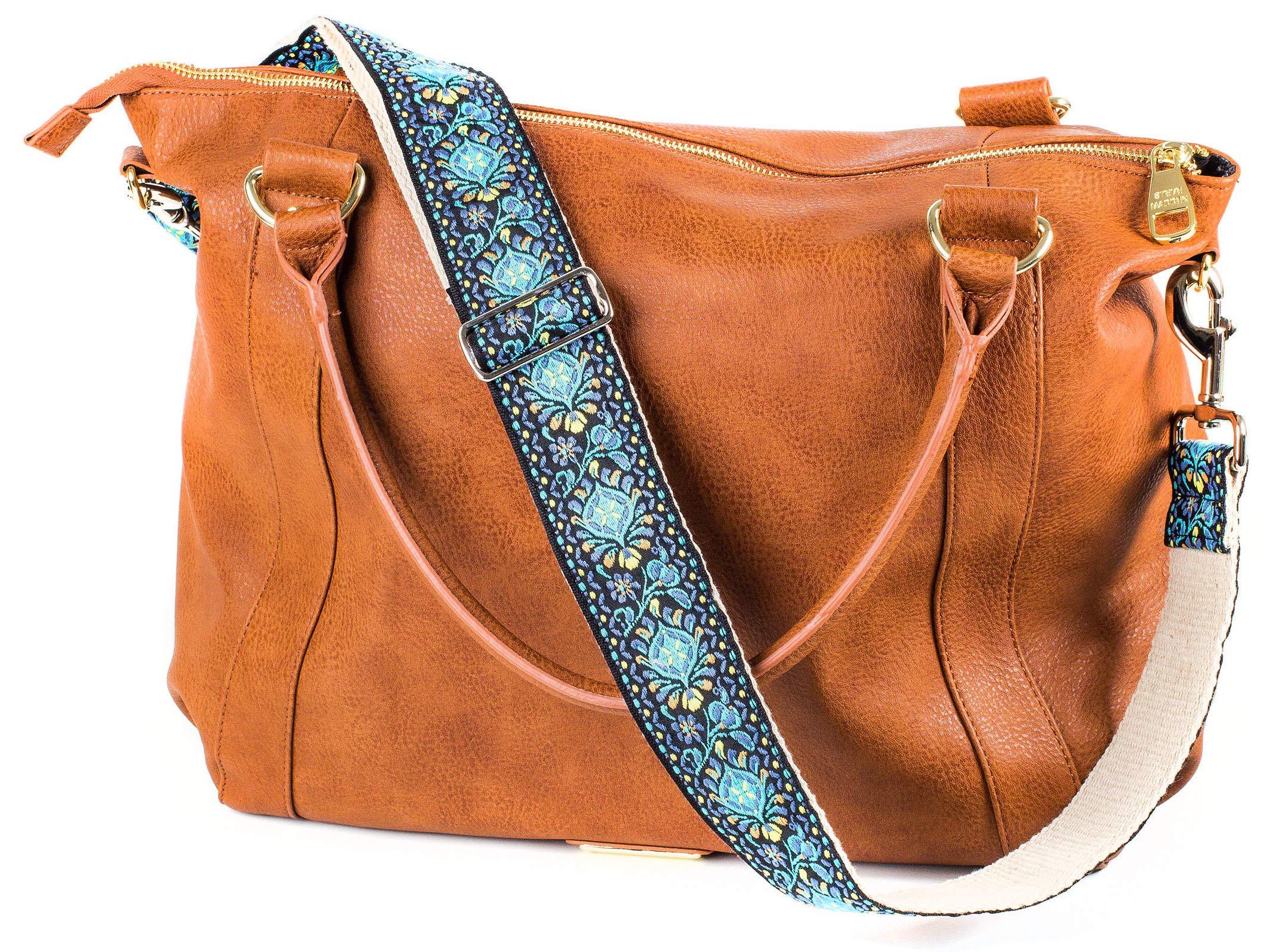 Jacquard Woven Blue Handbag & Purse Strap Replacement Embroidered Guitar Strap Styled Shoulder Bag Strap - Adjustable Bag Strap For Tote Bag And Messenger Bags –Gold Hardware