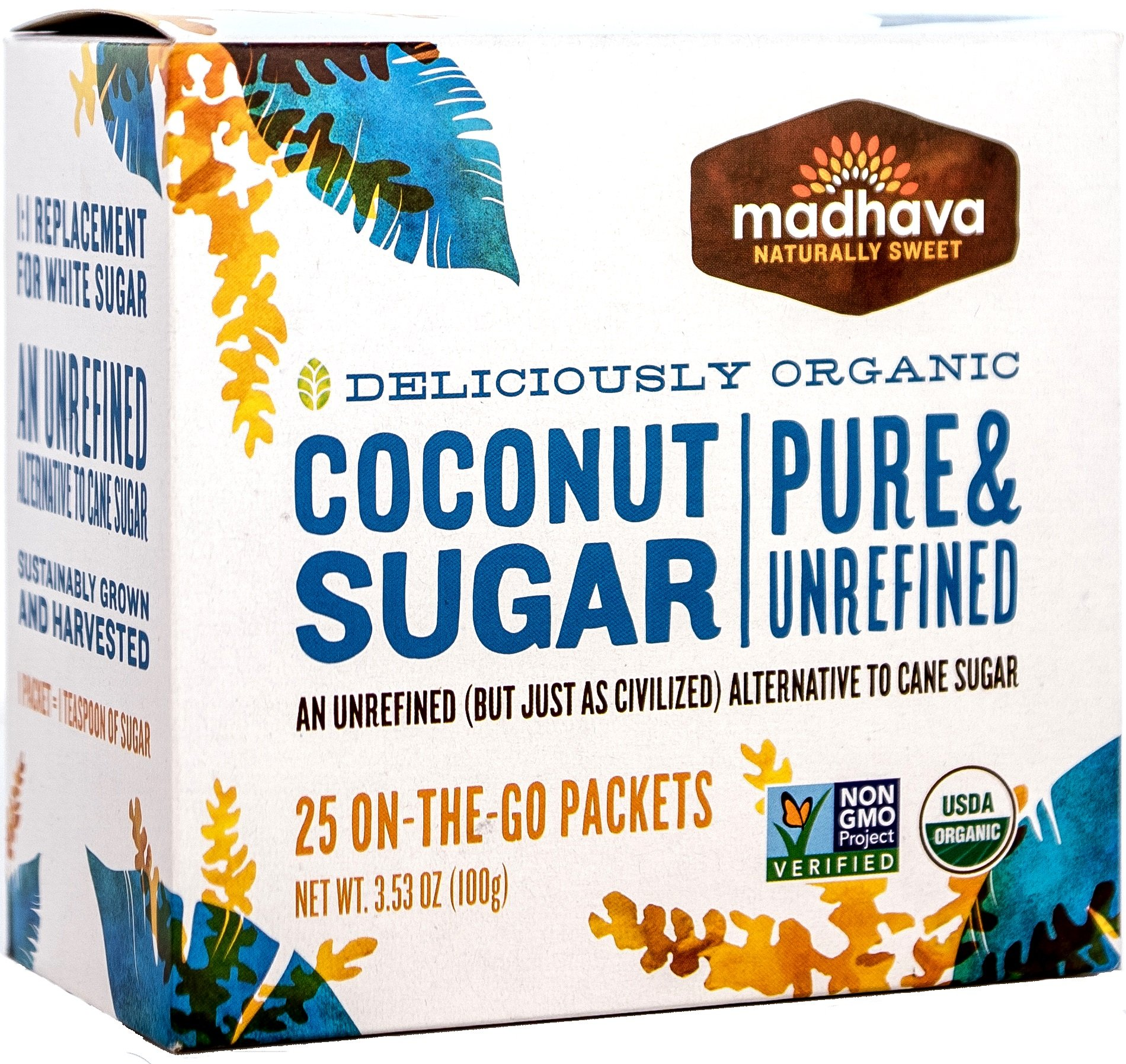 Madhava Naturally Sweet Organic Pure & Unrefined Coconut Sugar, 25 Single Serve Packets, 3.53 Ounce Box