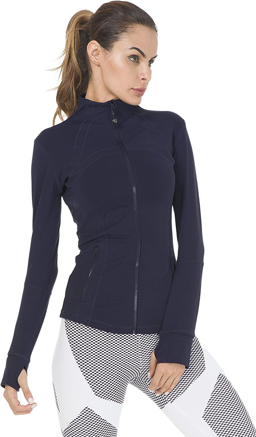QUEENIEKE Womens Running Jacket Slim Fit and Cottony-Soft Handfeel Sports Tops with Full Zip Side Pocket
