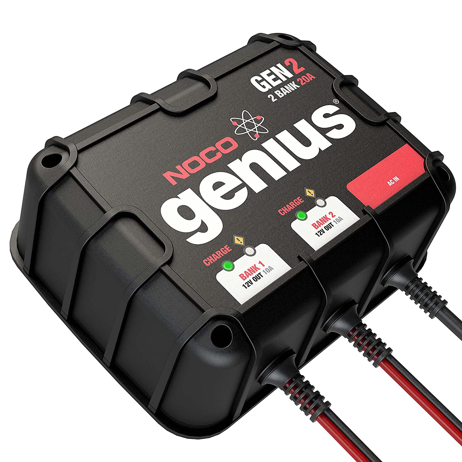 Noco Genius Gen2 20 Amp 2 Bank Waterproof Smart On Board Anti Spark Circuit Built Into The Battery Pack Charger Automotive