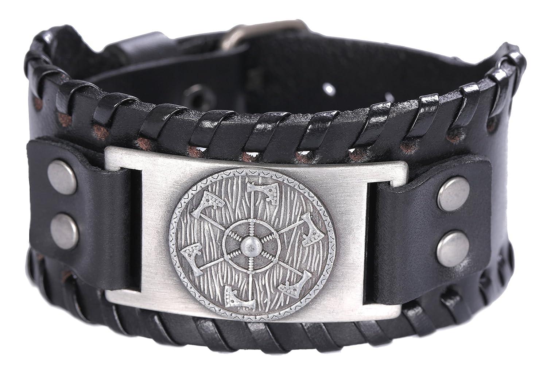 フックSlavic Perun Axe SunホイールPagan Talismanバングルレザーブレスレット  Antique Silver,Black B07DHHX32L