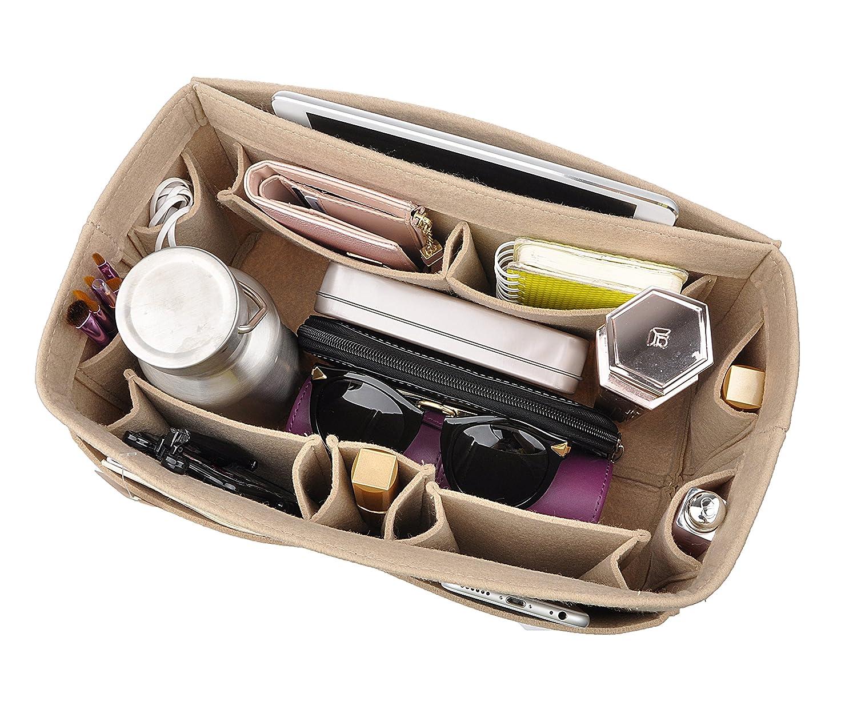 Beige Large Felt Purse Organizer Insert, 12 Pockets Handbag Oragnizer Bag in Bag