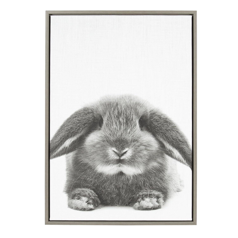 Amazon com kate and laurel sylvie rabbit animal print black and white portrait framed canvas wall art by simon te tai gray 23x33 posters prints