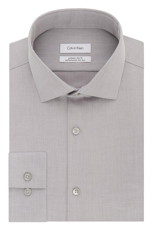 Calvin Klein Mens Dress Shirts Xtreme Slim Fit Non Iron Herringbone