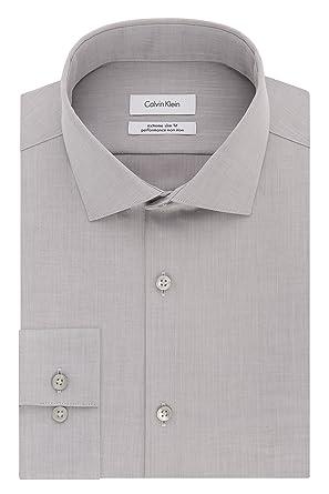 eec432257 Calvin Klein Men s Dress Shirts Xtreme Slim Fit Non Iron Herringbone ...